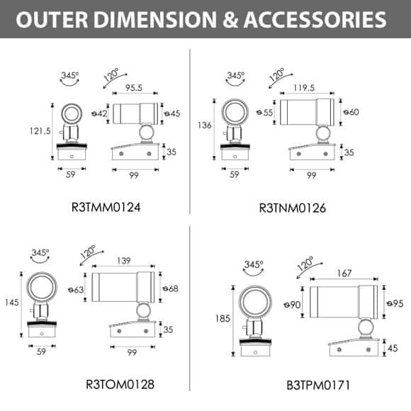 Architectural Spot Lights - Dimension