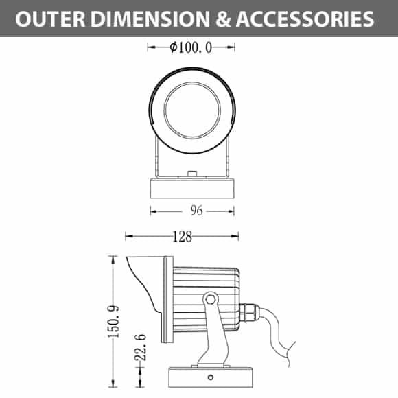 COB LED Lanscape Flood Light - B3FTM0126 - Dimension