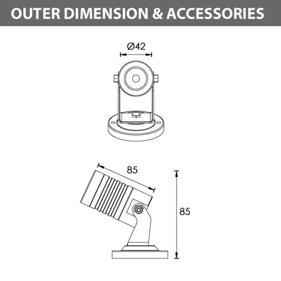 LED Landscape Focus & Spot Light -B3AM0157 - Dimension