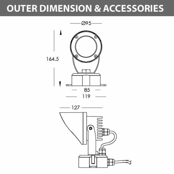 LED Landscape Focus & Spot Light - FB3DM0357 - Dimension