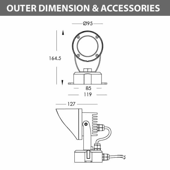 LED Landscape Focus & Spot Light - R3DM0126 - Dimension