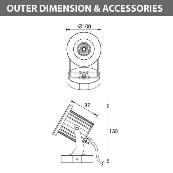 LED Landscape Focus & Spot Light - R3FUM0126 - Dimension