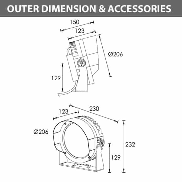 LED Landscape Light - B3BB0625 - Dimension