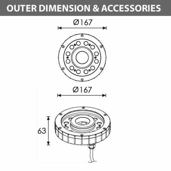LED Recessed Fountain Light - B4E1256 - Diamension