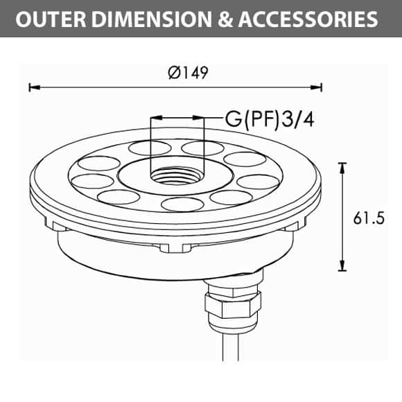 LED Recessed Fountain Light - B4SB0957 - Diamension