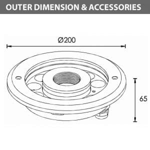 LED Recessed Fountain Light - B4TA1257 - Diamension