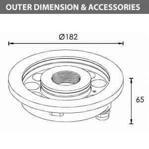 LED Recessed Fountain Light - B4TB1257 - Diamension