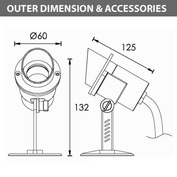 LED Underwater Spot Light - B5AF0158 - Diamension