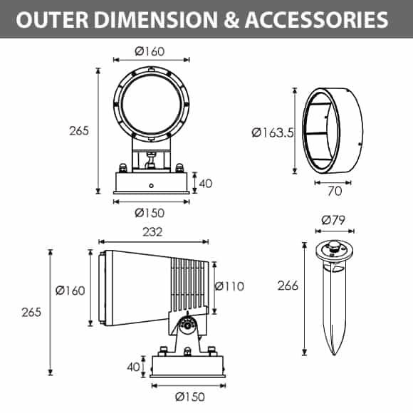 LED Wall Mounted Focus & Spot Light - B3BJM1258 - Diamension