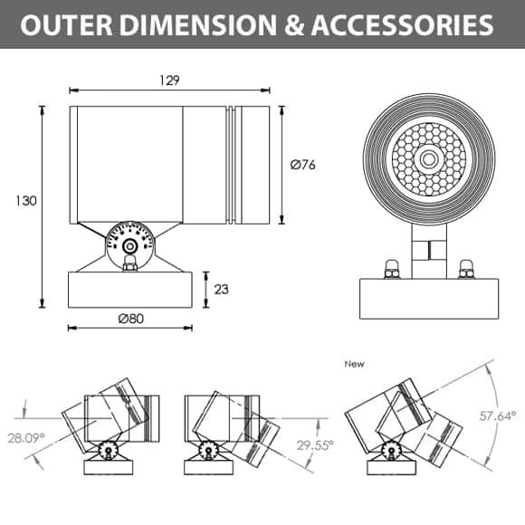 LED Wall Mounted Focus & Spot Light - B3XBM0127 - Diamension