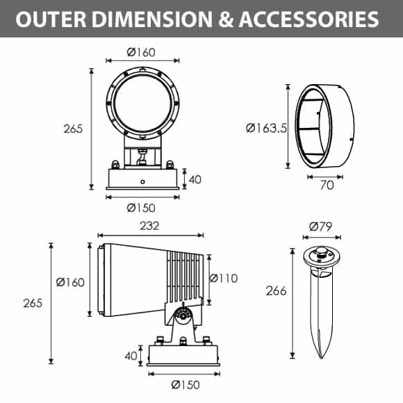 LED Wall Mounted Focus & Spot Light - R3BJM0176 - Diamension