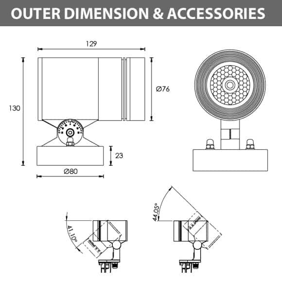 LED Wall Mounted Focus & Spot Light - R3XBM0128 - Diamension
