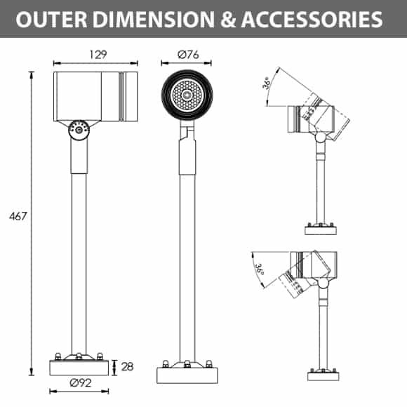 LED Wall Mounted Focus & Spot Light - R3XBP0128 - Diamension