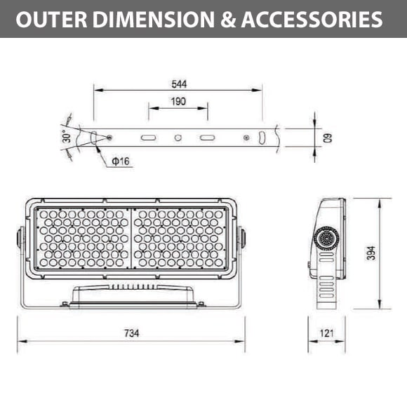 Outdoor LED Facade Wall Washer - JRF5-126 - Diamension