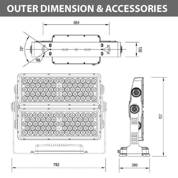 Outdoor LED Facade Wall Washer - JRF5-132 - Diamension