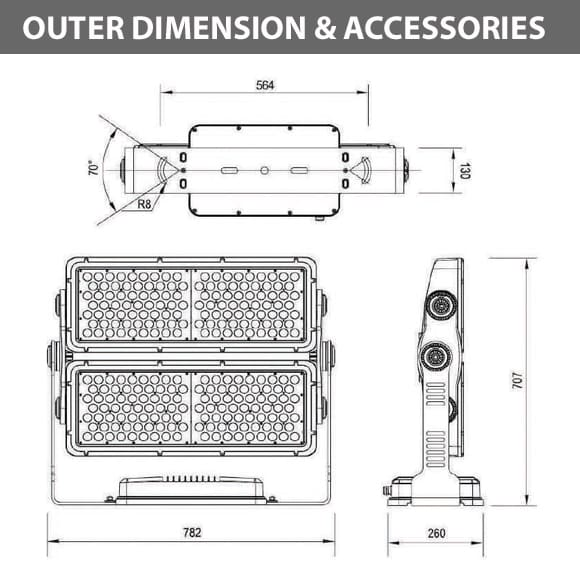 Outdoor LED Facade Wall Washer - JRF5-252 -Diamension