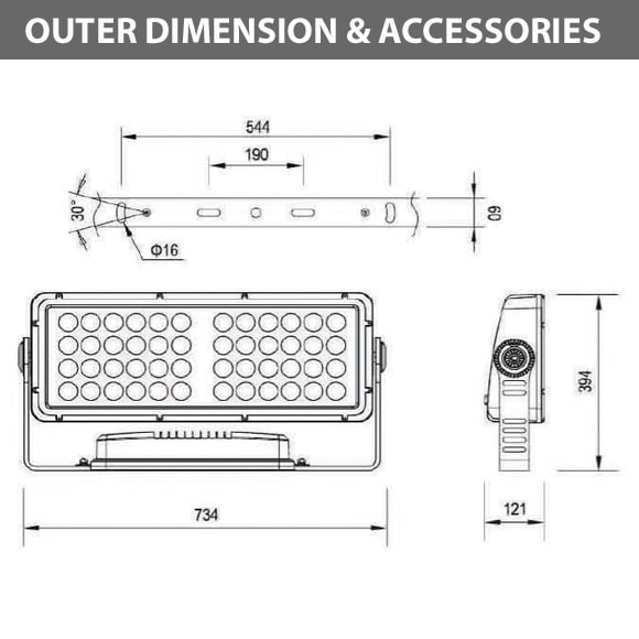 Outdoor LED Facade Wall Washer - JRF5-48 - Diamension
