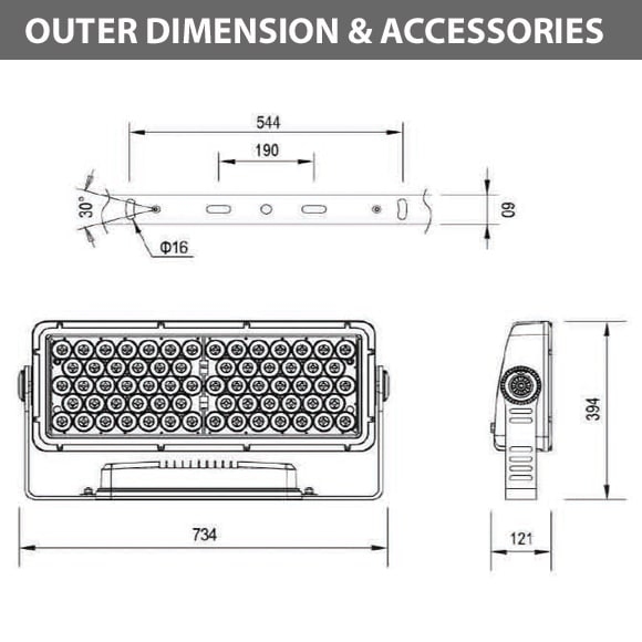 Outdoor LED Facade Wall Washer - JRF5-66 - Diamension