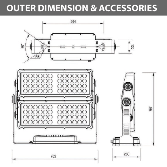 Outdoor LED Facade Wall Washer - JRF5-96 - Diamension