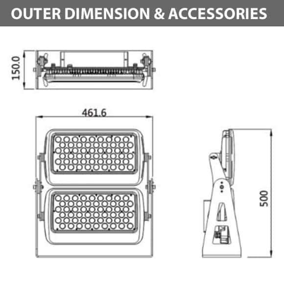 Outdoor LED Flood Light - JRF1-L-2-Diamension