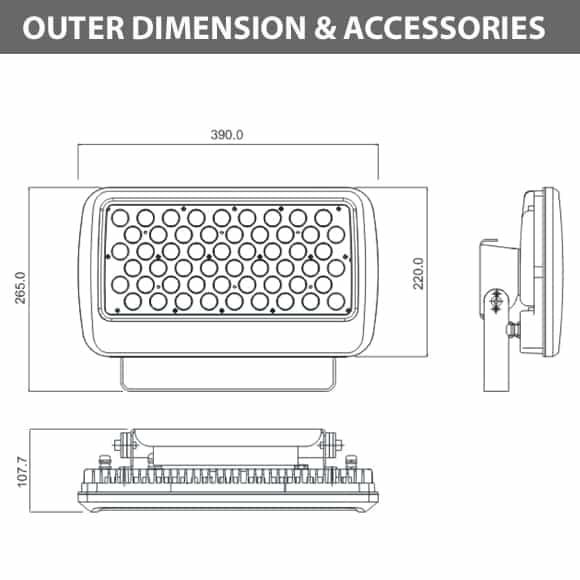 Outdoor LED Flood Light - JRF1-L-Diamension