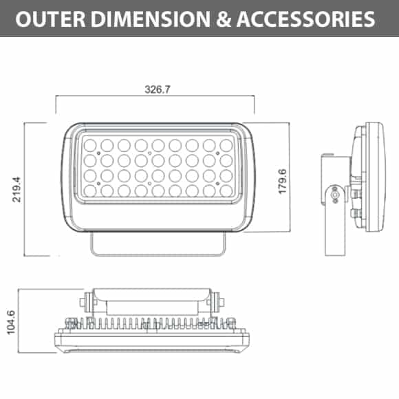 Outdoor LED Flood Light - JRF1-M-Diamension