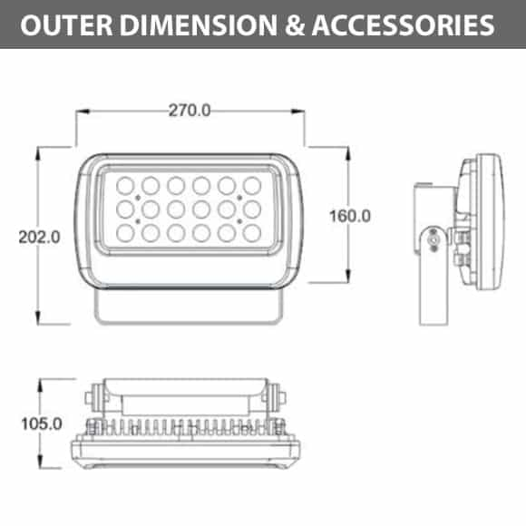 Outdoor LED Flood Light - JRF1-S-Diamension