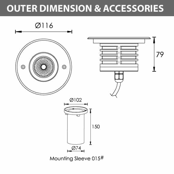 Outdoor LED Inground COB Light - R2CDR0126 - Diamension