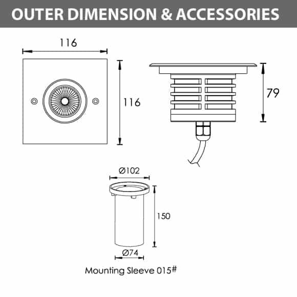 Outdoor LED Inground COB Light - R2CDS0126 - Diamension