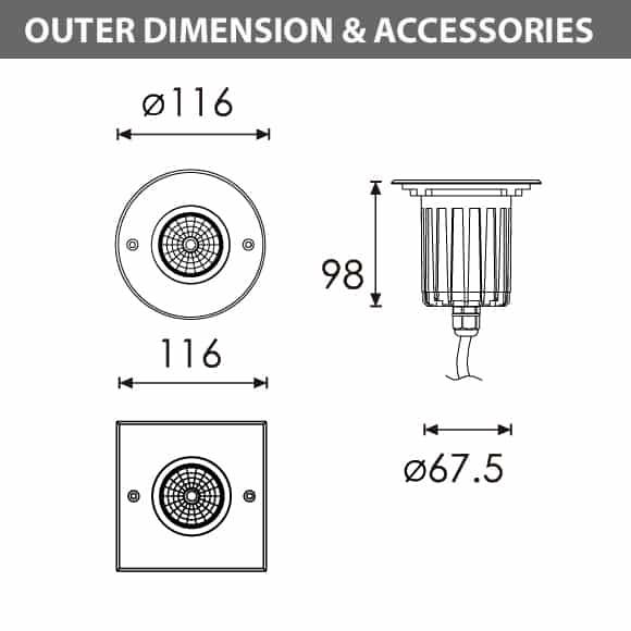 Outdoor LED Inground COB Light - R2DFR0126 &R2DFS0126 - Diamension