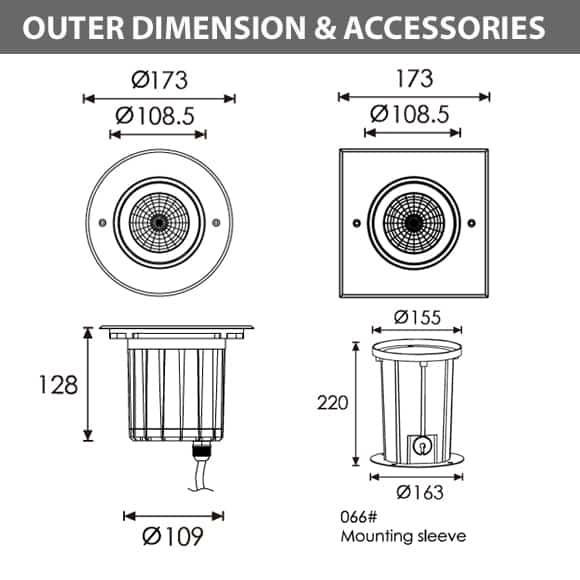 Outdoor LED Inground COB Light - R2EFR0129 &R2EFS0129 - Diamension