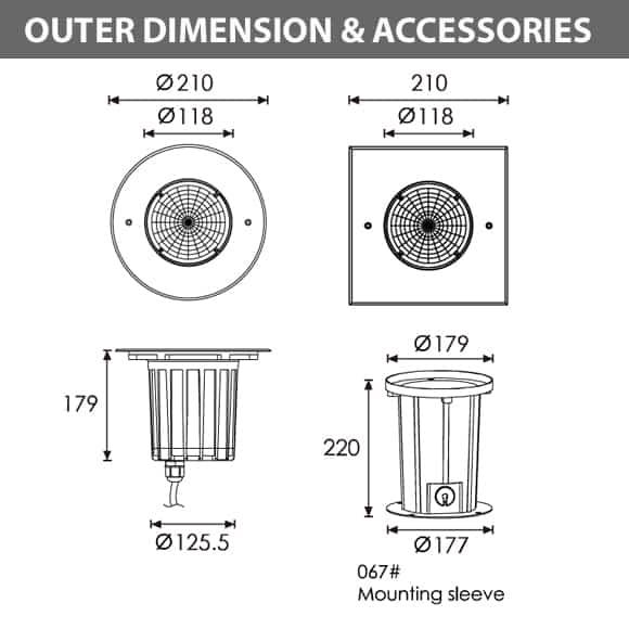 Outdoor LED Inground COB Light - R2EFR0170 &R2EFS0170 - Diamension