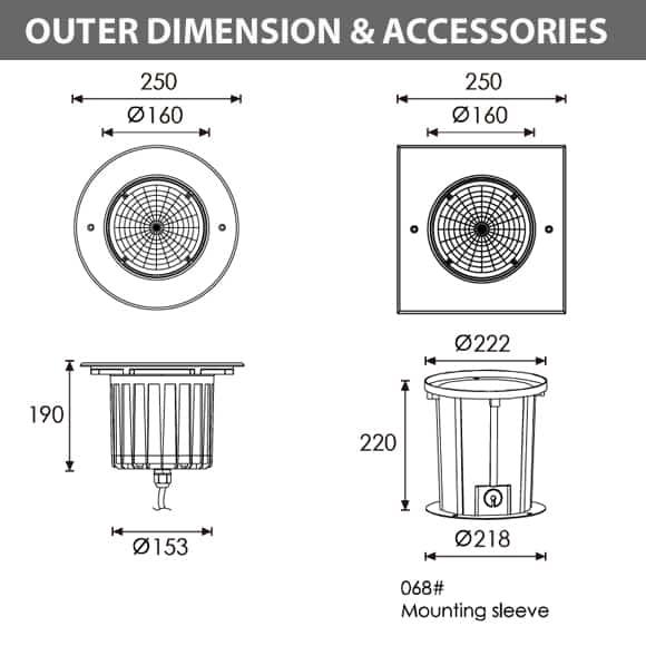 Outdoor LED Inground COB Light - R2GFR0173 &R2GFS0173 - Diamension