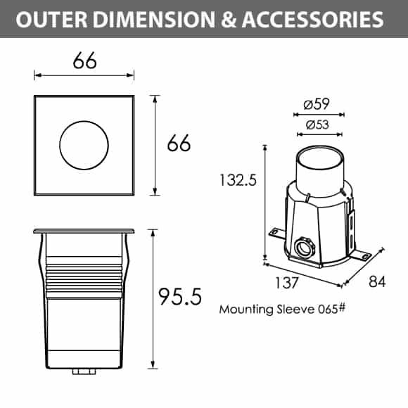 Outdoor LED Inground COB Light - R2IS0125 A - Diamension