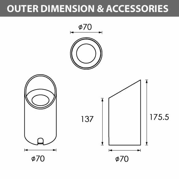 Outdoor LED Inground COB Light - RB2CCAR0125 - Diamension