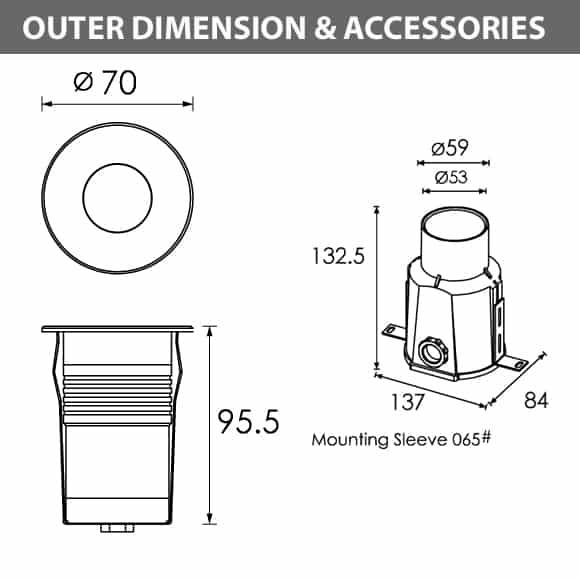 Outdoor LED Inground COB Lights - R2IR0125 A - Diamension