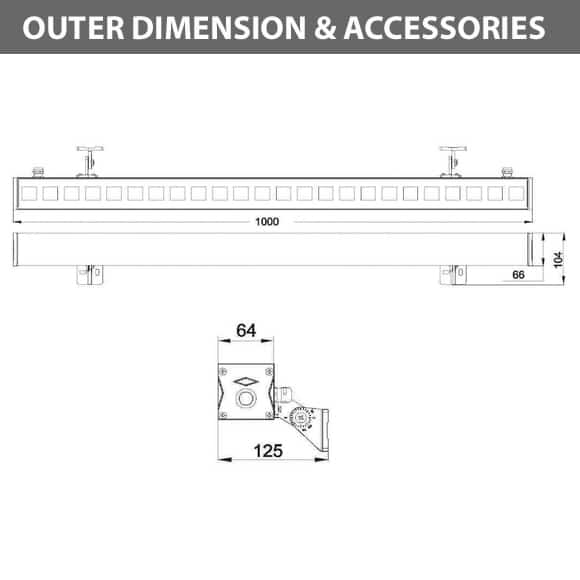 Outdoor LED Linear Facade Wall Washer - JRL7-12 - Diamension