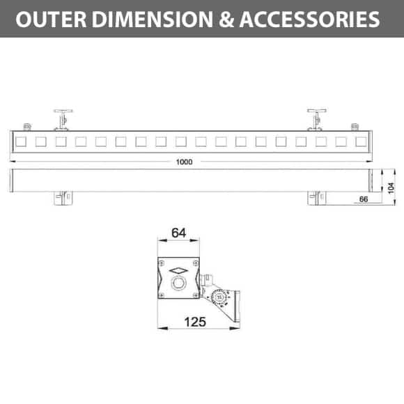 Outdoor LED Linear Facade Wall Washer - JRL7-18 - ColorDiamension