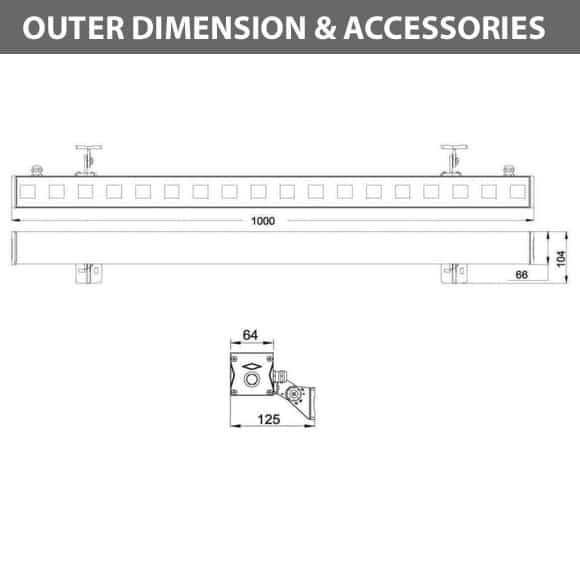 Outdoor LED Linear Facade Wall Washer - JRL7-18R - DiamensionOutdoor LED Linear Facade Wall Washer - JRL7-18R - Diamension