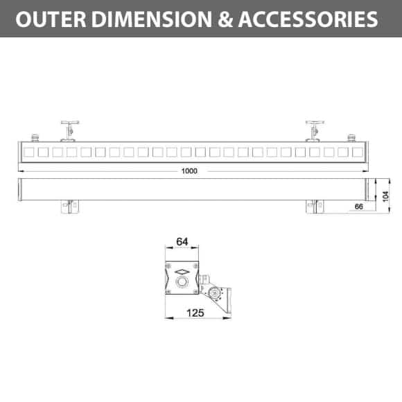 Outdoor LED Linear Facade Wall Washer - JRL7-24 - Diamension