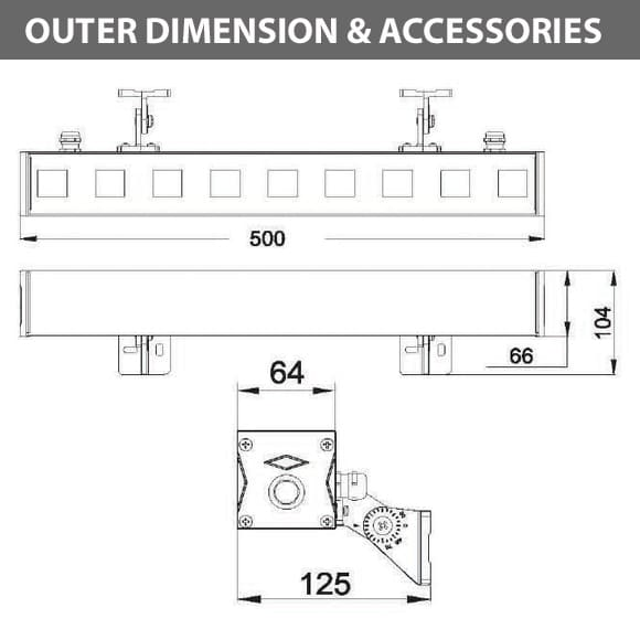 Outdoor LED Linear Facade Wall Washer - JRL7-9 - Diamension