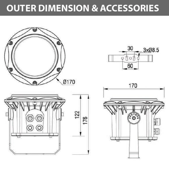 Outdoor LED Projector Lights - JRF3-12 - Diamension