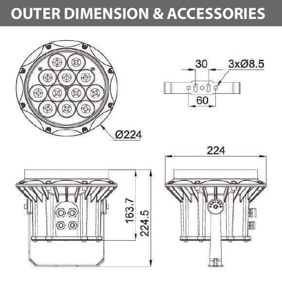 Outdoor LED Projector Lights - JRF3-12R - Diamension