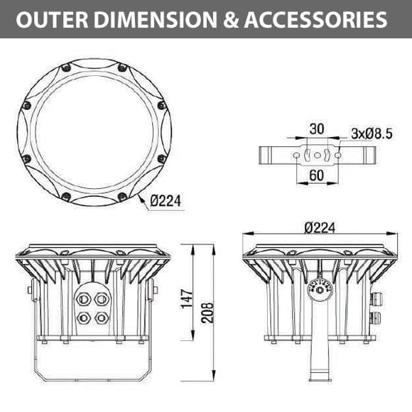 Outdoor LED Projector Lights - JRF3-18 - Diamension