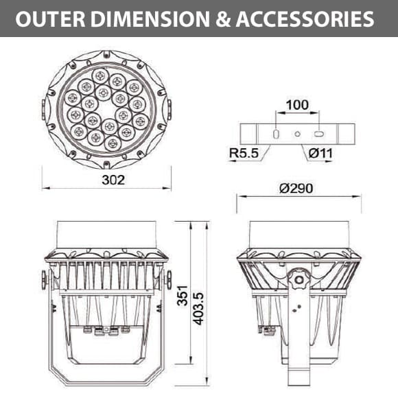 Outdoor LED Projector Lights - JRF3-18R - Diamension