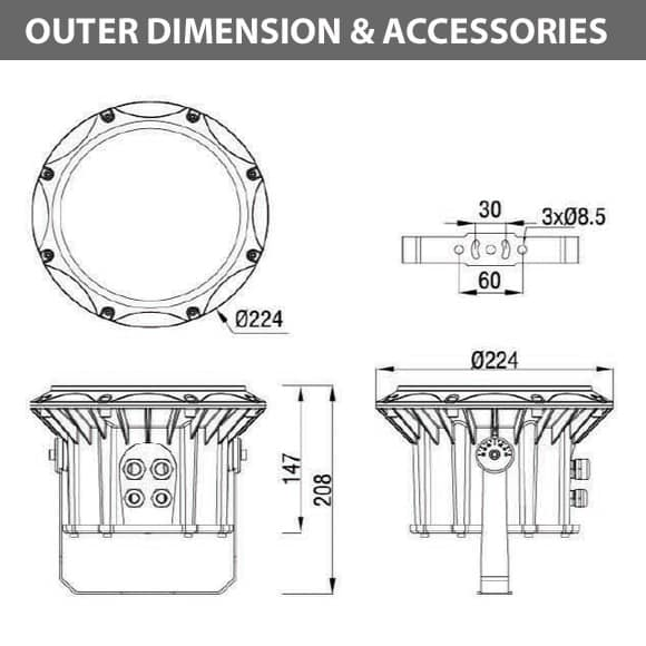 Outdoor LED Projector Lights - JRF3-24 - Diamension