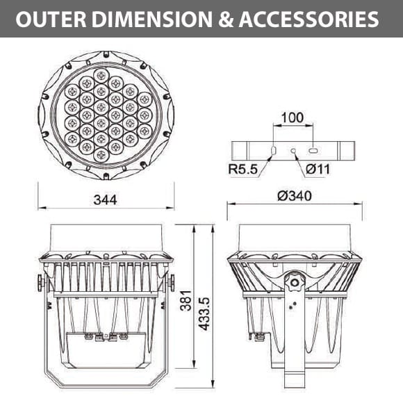 Outdoor LED Projector Lights - JRF3-27R - Diamension