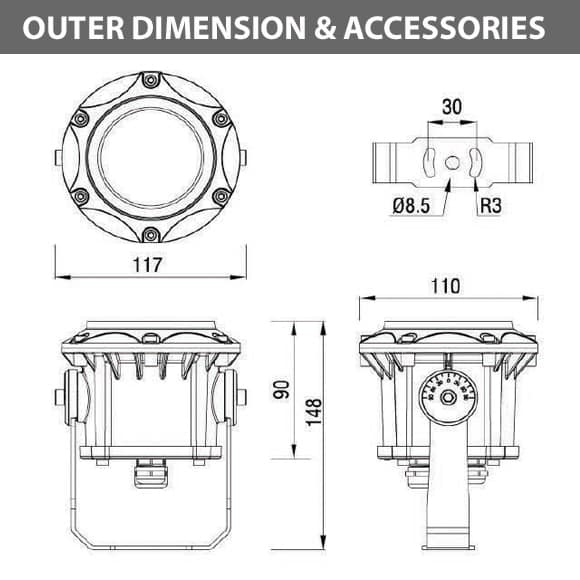 Outdoor LED Projector Lights - JRF3-3 - Diamension