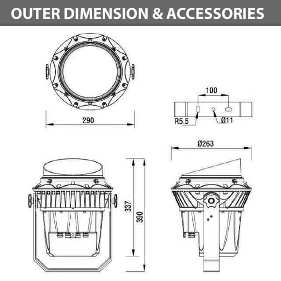 Outdoor LED Projector Lights - JRF3-36 - Diamension