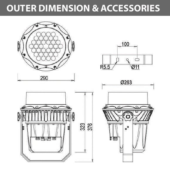 Outdoor LED Projector Lights - JRF3-36D - Diamension